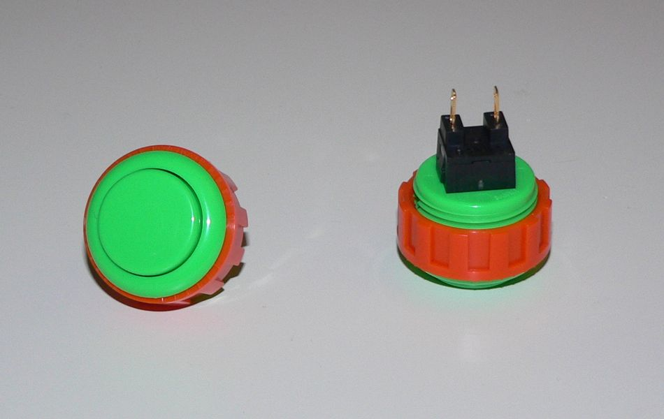 Sanwa Small (24mm) Pushbutton - Green (Screw Back)