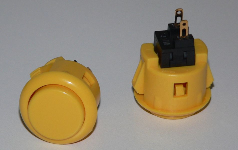 Sanwa Small (24mm) Pushbutton - Yellow